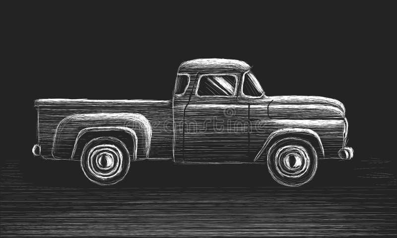Skecth disegnato a mano di vecchio retro vettore del camioncino Veicolo di trasporto d'annata royalty illustrazione gratis