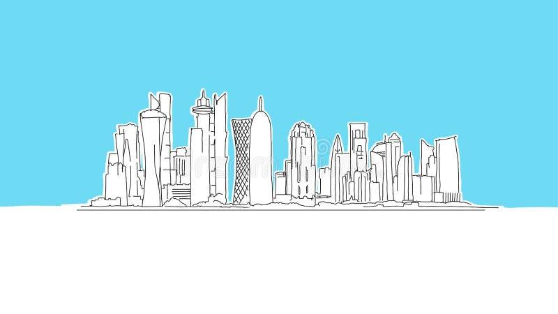 Skecz wektorowy z Ad-Dauhy Qatar Skyscraper ilustracja wektor