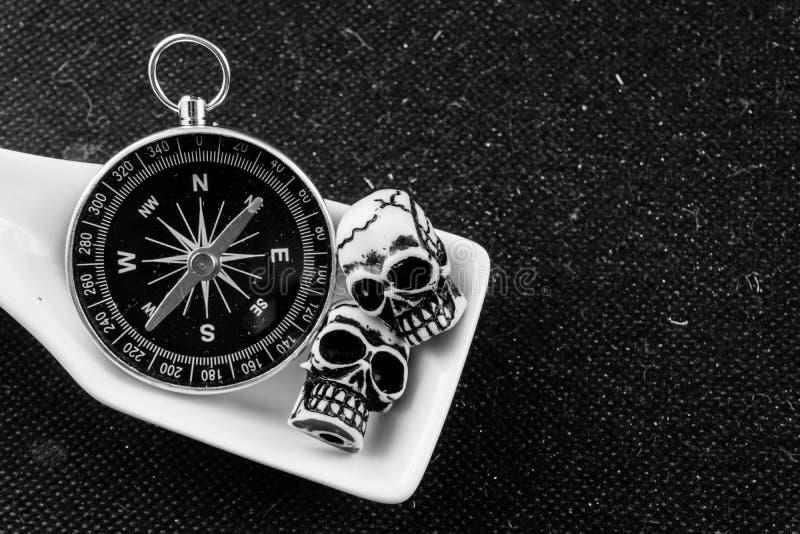 Sked av kompass och 2 skallar royaltyfri foto