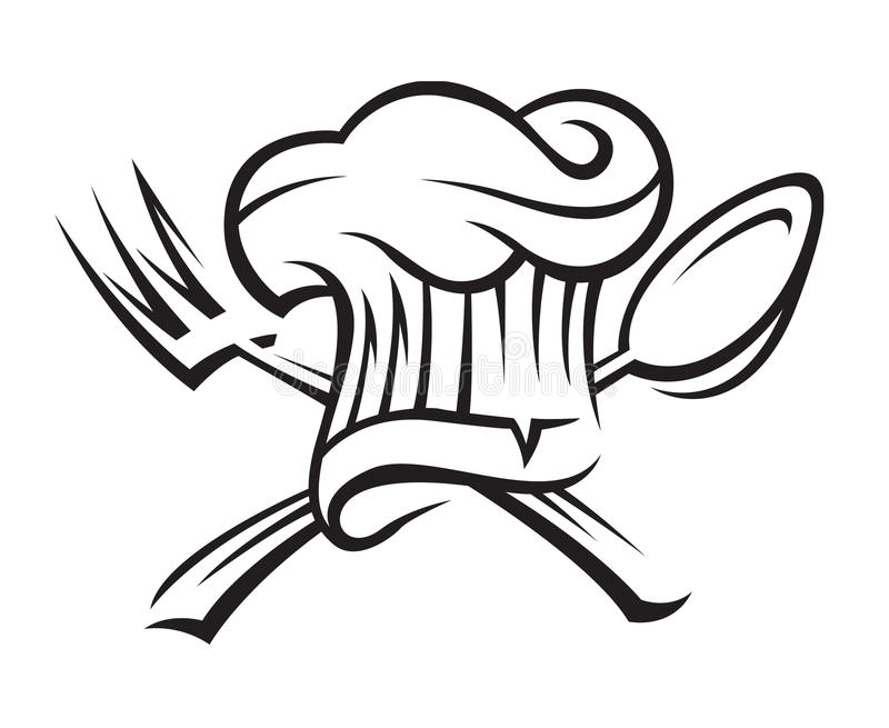 sked för kockgaffelhatt royaltyfri illustrationer