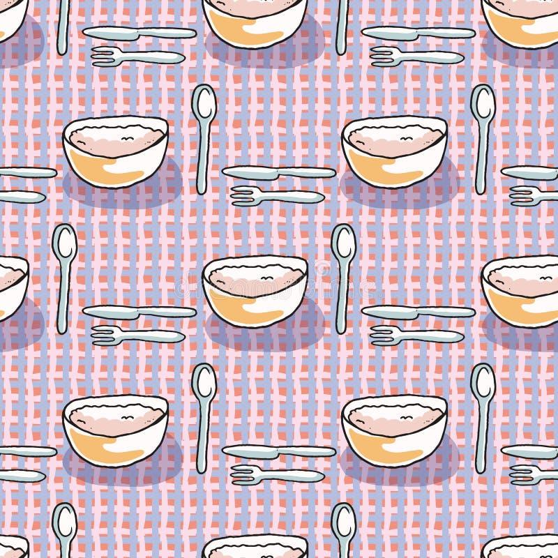 Sked gaffel, illustration f för modell för mat för vektor för knivsoppabunke dragen sömlös hand royaltyfri illustrationer