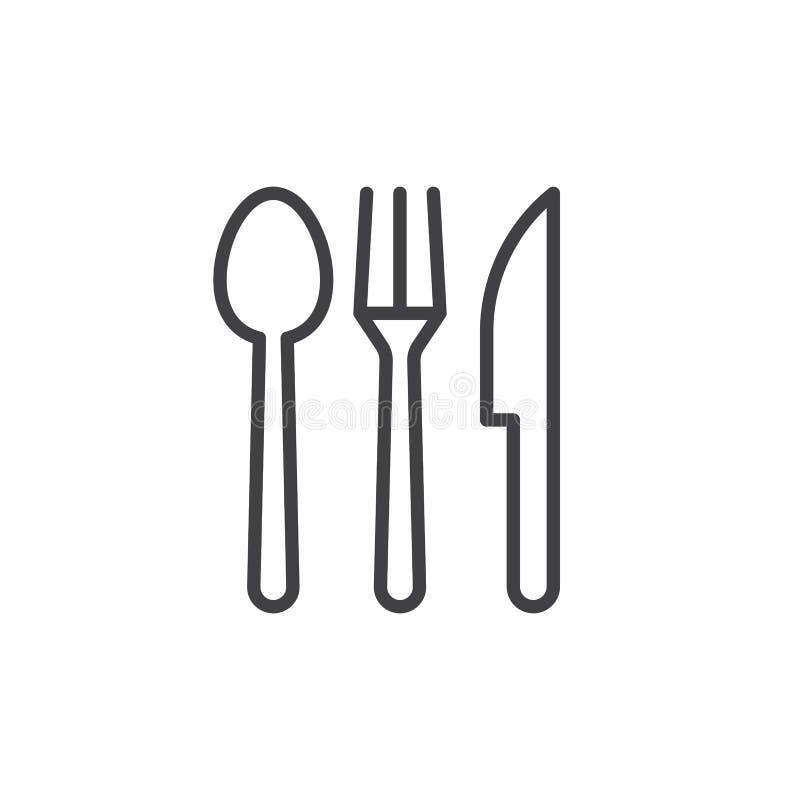 Sked gaffel, kniv Besticklinje symbol royaltyfri illustrationer