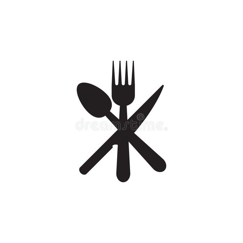 Sked kniv, mall för grafisk design för gaffelsymbol vektor illustrationer
