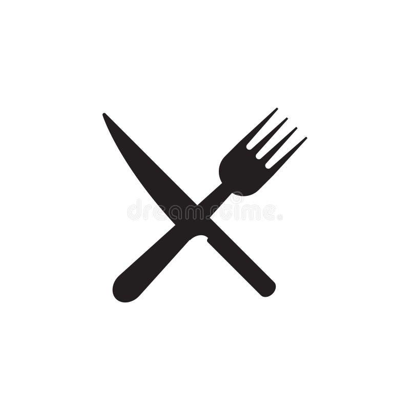 Sked kniv, vektor för mall för grafisk design för gaffelsymbol royaltyfri illustrationer