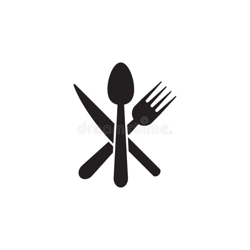 Sked kniv, vektor för mall för grafisk design för gaffelsymbol vektor illustrationer