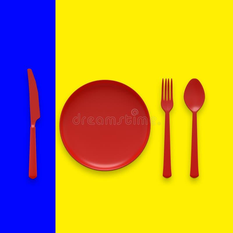 Sked med gaffeln med röd färg för kniv och för platta vektor illustrationer