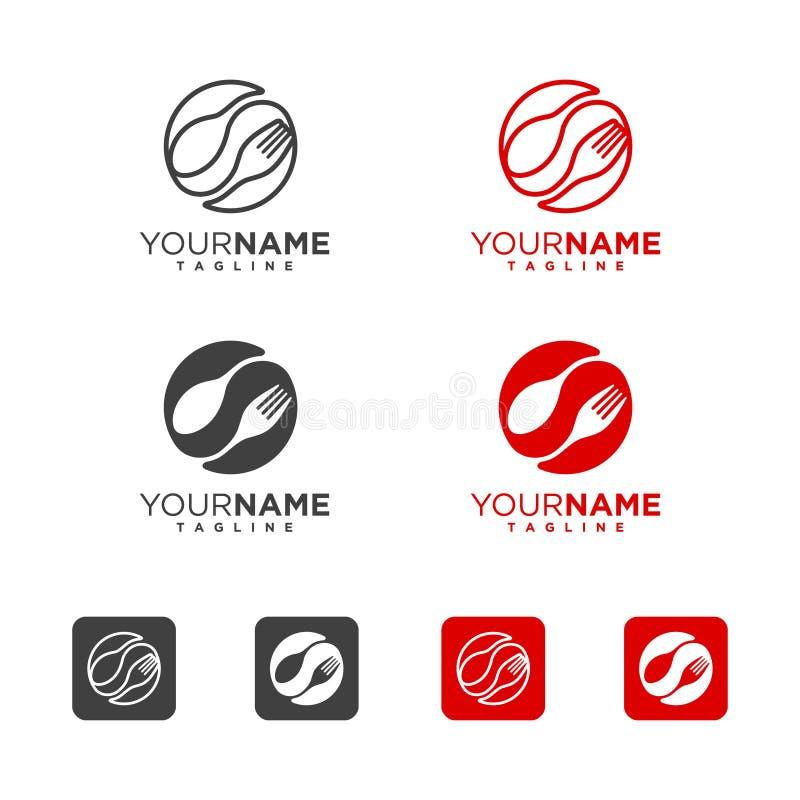 Sked och gaffel Logo Icon royaltyfri illustrationer