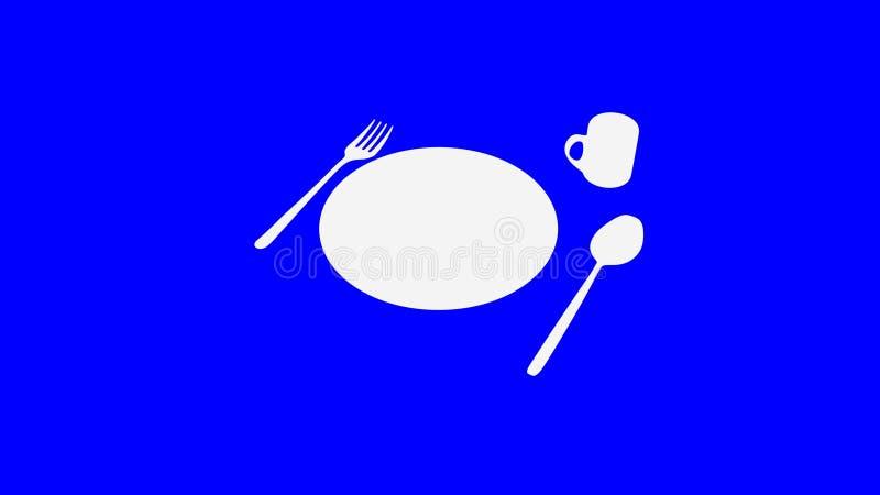 Sked och gaffel och platta och kopp på blått mörkt mörker - stock illustrationer