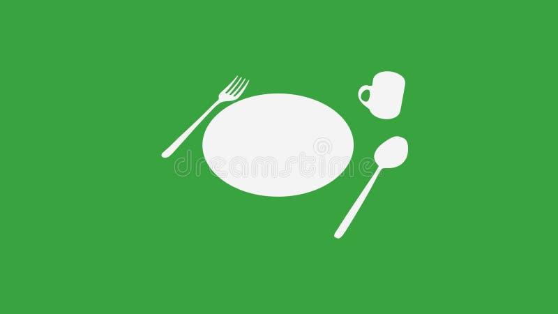 Sked och gaffel och platta och kopp på gräsplan stock illustrationer