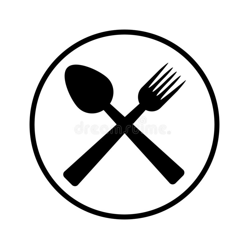Sked- och gaffelsymbolsvektor royaltyfri illustrationer