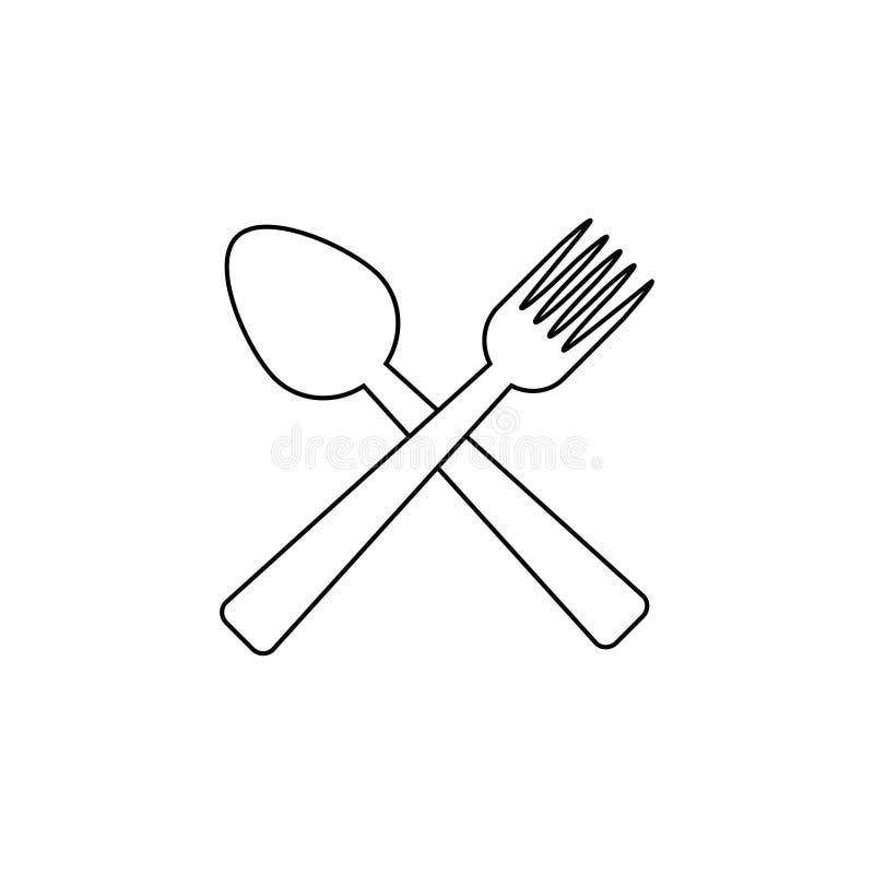Sked- och gaffelsymbolsvektor stock illustrationer