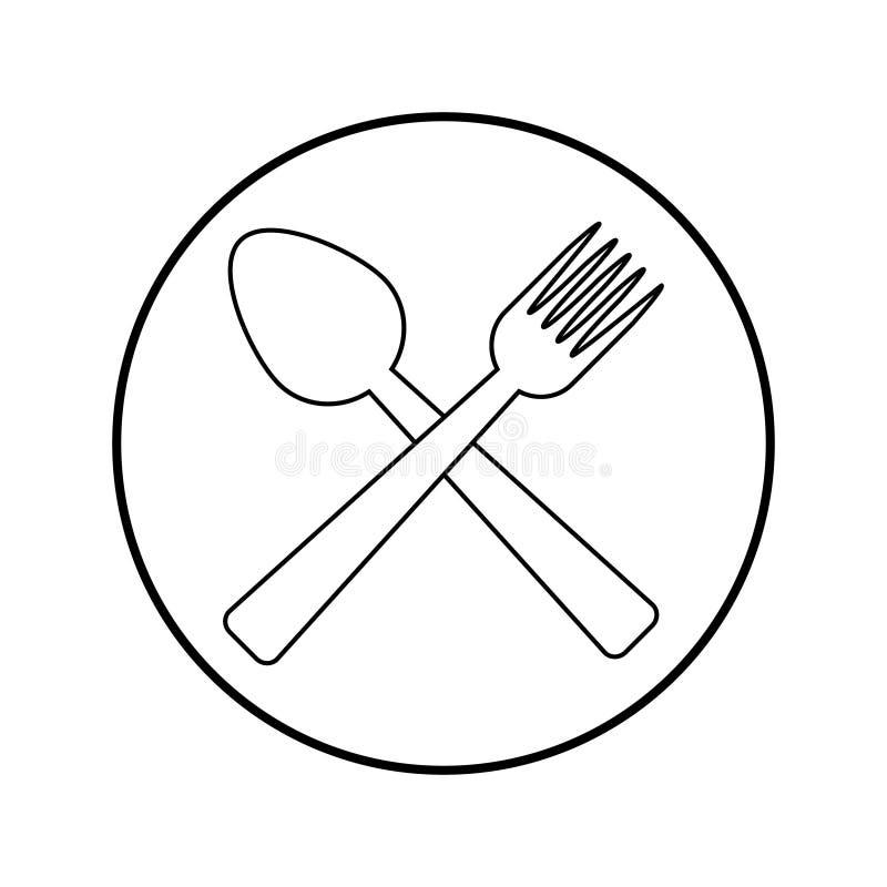 Sked- och gaffelsymbolsvektor vektor illustrationer