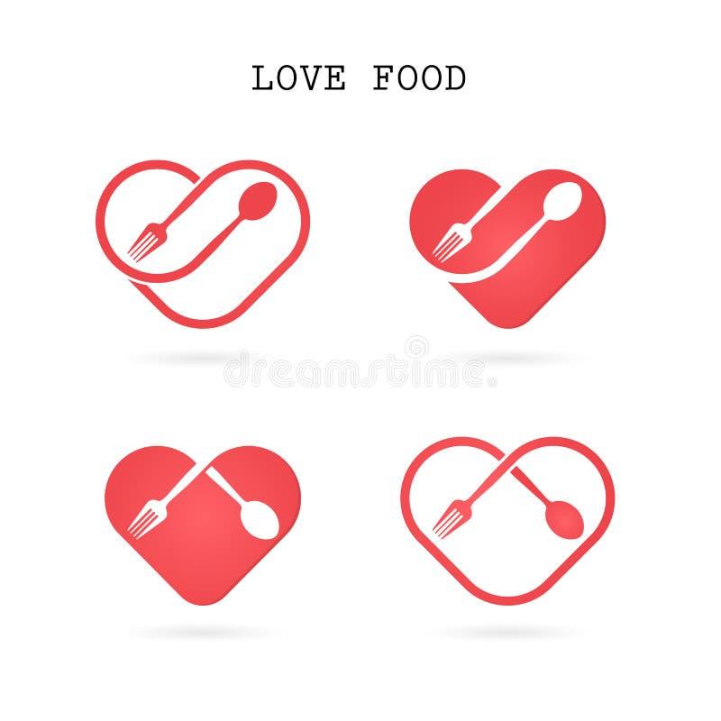Skeda och dela sig logoen med den röda beståndsdelen för designen för hjärtaformvektorn royaltyfri illustrationer