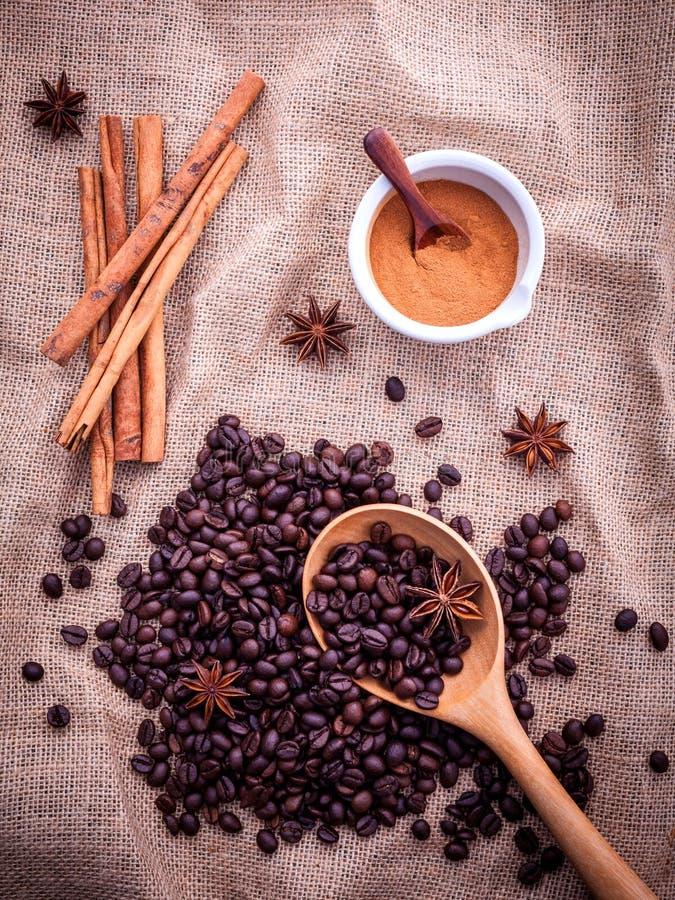 Skeden av kaffebönor på torkdukesäcken med kanelbruna pinnar royaltyfria bilder