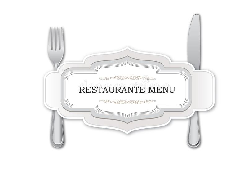 Skeden med dela sig och baktalar Design för mall för Restaurante menykort Äta middag symbos över vit bakgrund vektor illustrationer