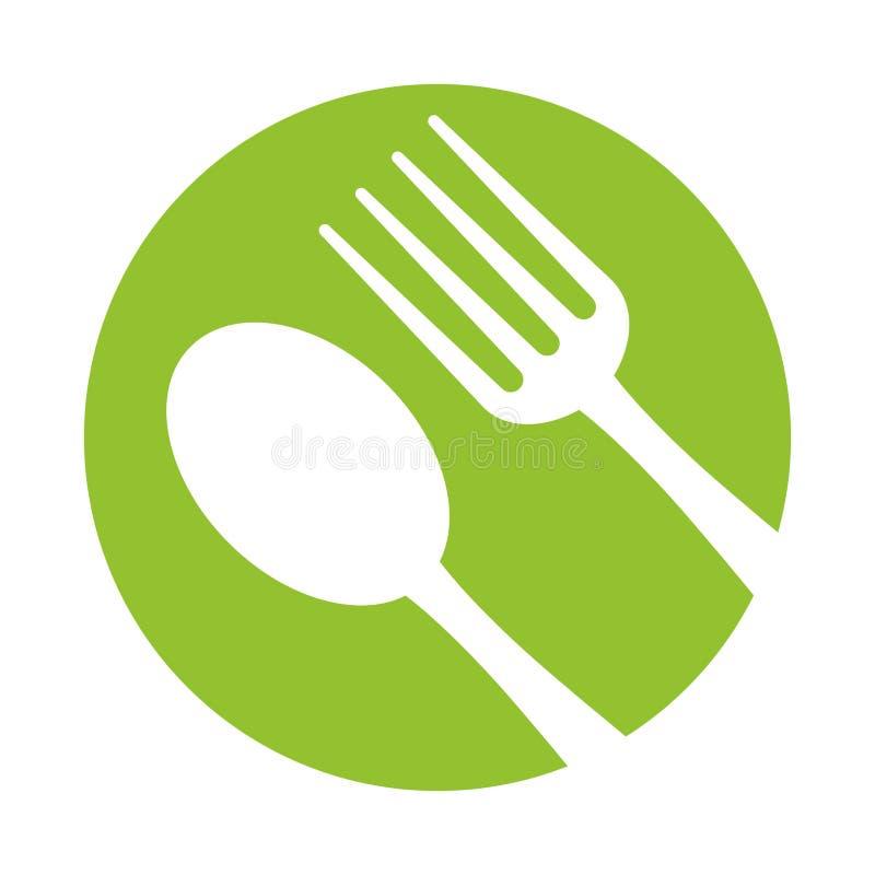Skedgaffelredskap äter grön bakgrund för symbolen stock illustrationer
