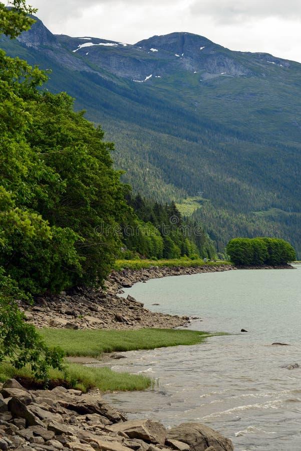 Skeena-Flussküstenlinie im Britisch-Columbia, Kanada lizenzfreie stockfotografie