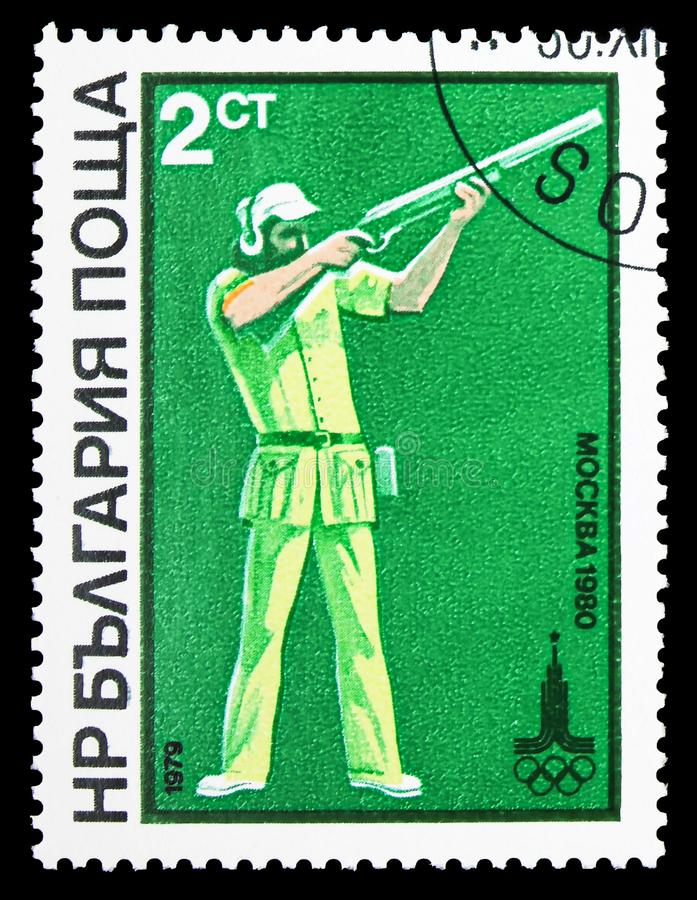 Skeet-Shooting, Summer Olympic Games in 1980, Moscow (IV) serie, circa 1979 stock photos