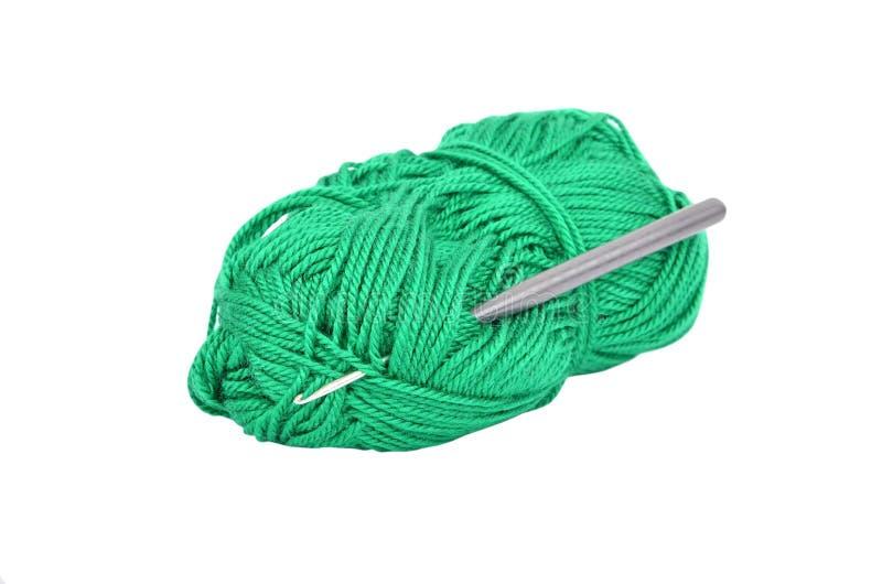 Skein do gancho de lãs e de crochet fotografia de stock