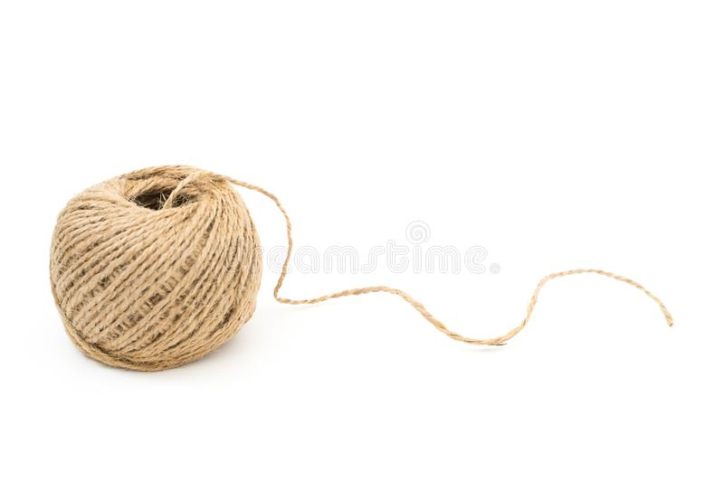 Skein of jute rope with loose end on white royalty free stock photos