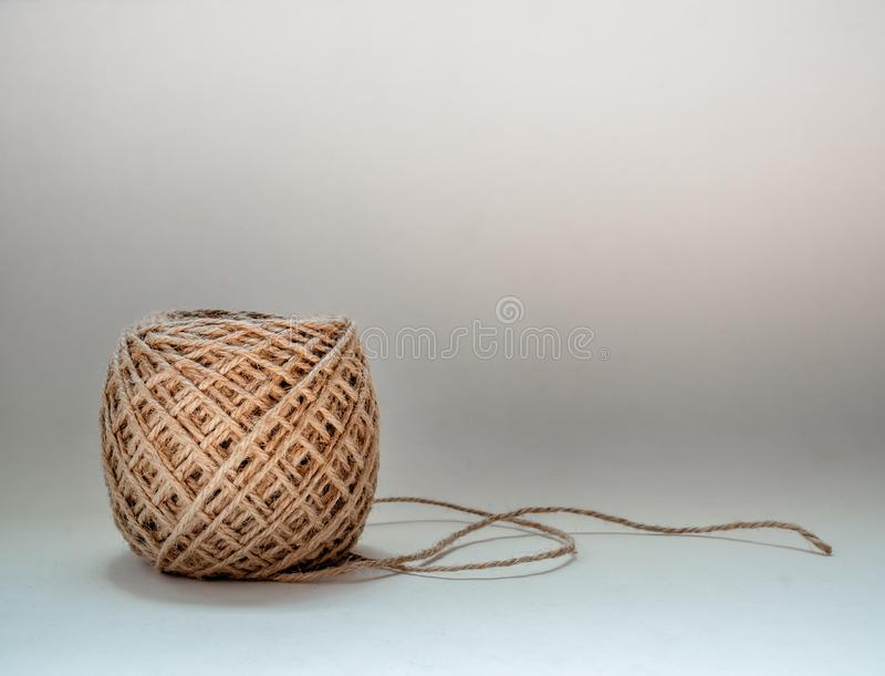 Skein of jute twine isolated on white background stock photos