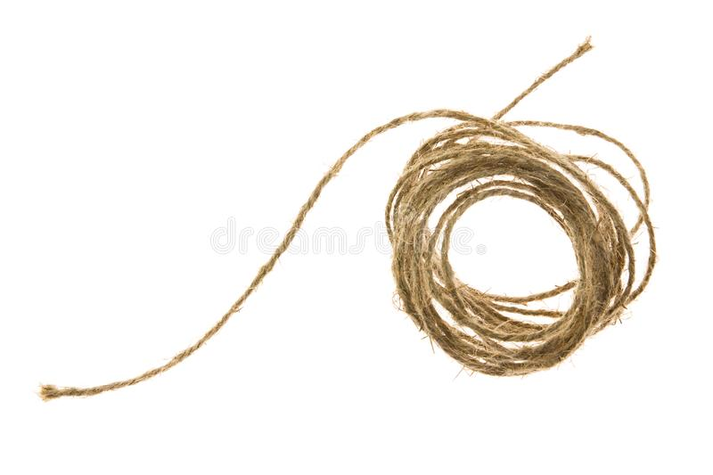 Skein of jute twine on the white background royalty free stock image