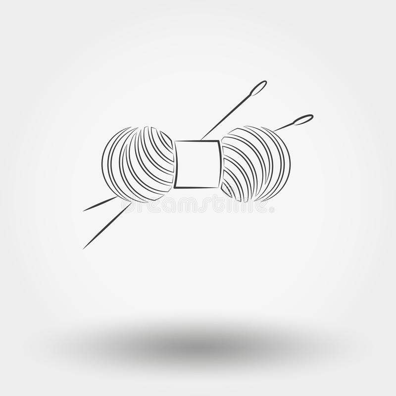 Skein of yarn for knitting and needles vector illustration