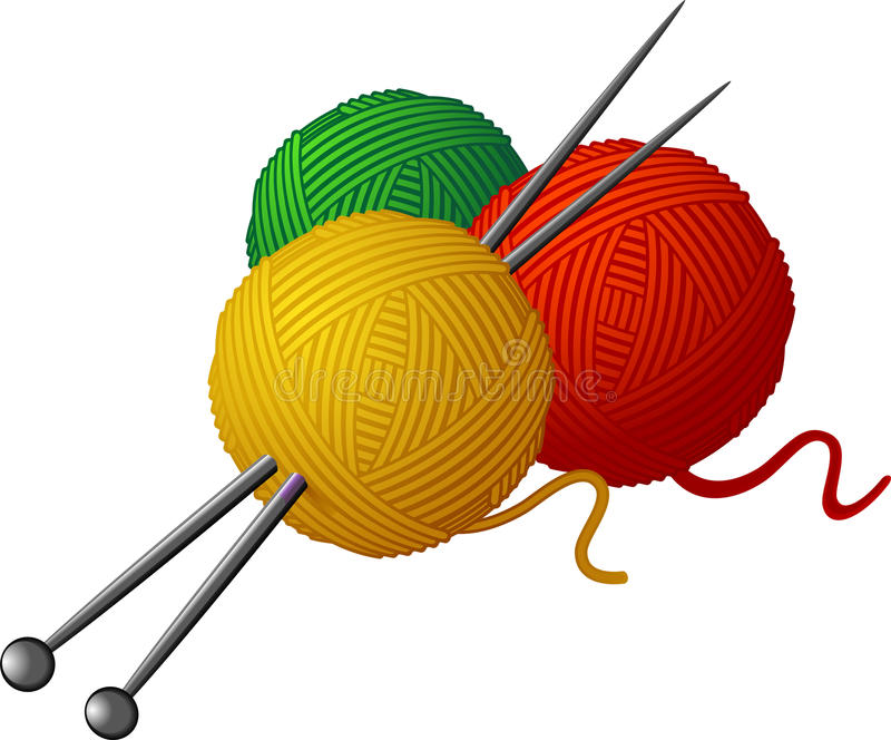 Skeins of wool and knitting needles. Isolated over white. EPS 8 royalty free illustration