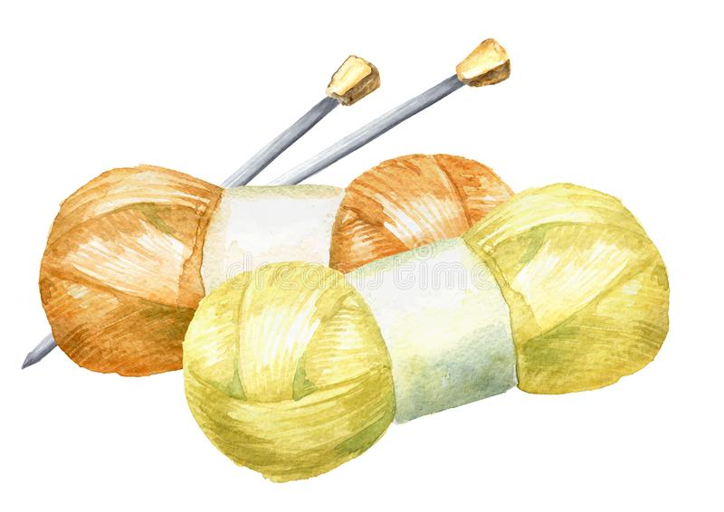 Skeins of yarn and knitting needles. Manual knitting concept. Watercolor hand drawn illustration, isolated on white background.  royalty free illustration