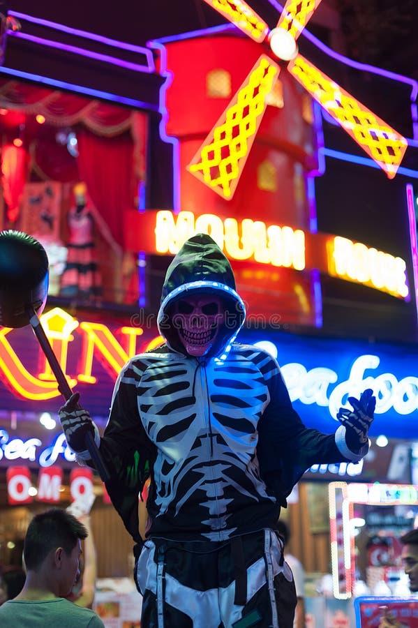 Skelet cosplay in Halloween royalty-vrije stock afbeeldingen