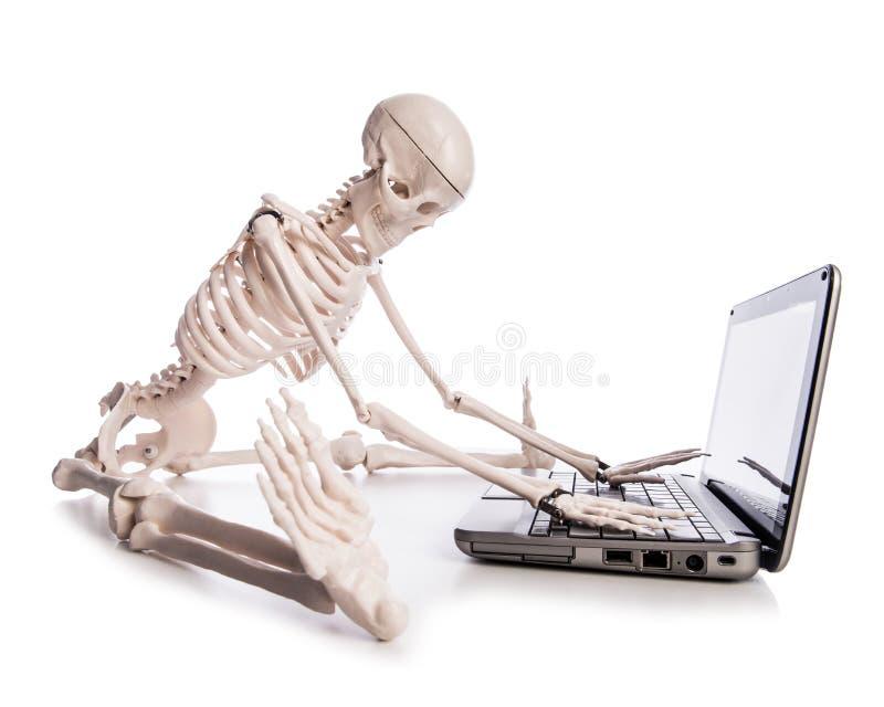 Skelet die aan laptop werken