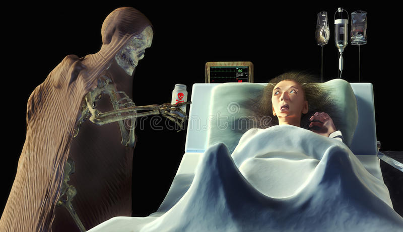 skelet die vergift geven aan een bang gemaakte oude vrouw in het ziekenhuis royalty-vrije illustratie