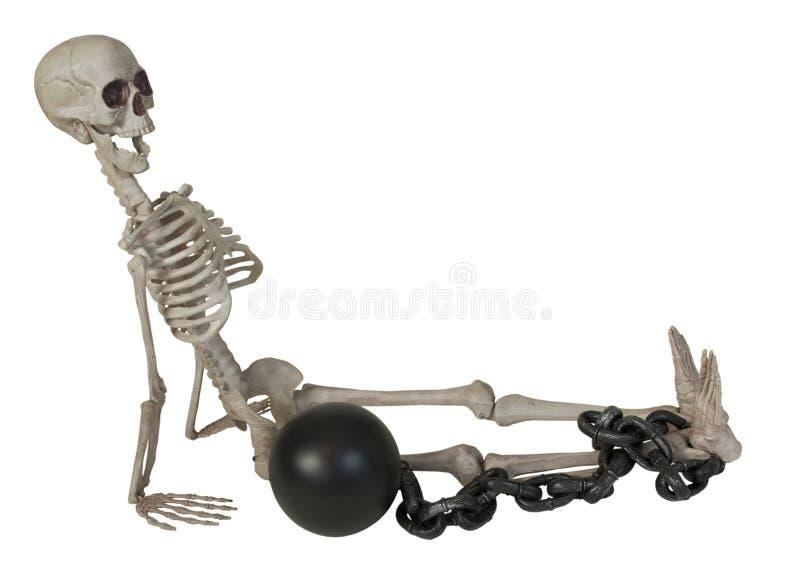 Skelet met Bal en Ketting royalty-vrije stock foto's