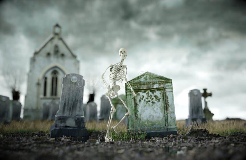 Skelet op enge oude begraafplaats Het concept van Halloween het 3d teruggeven royalty-vrije stock foto