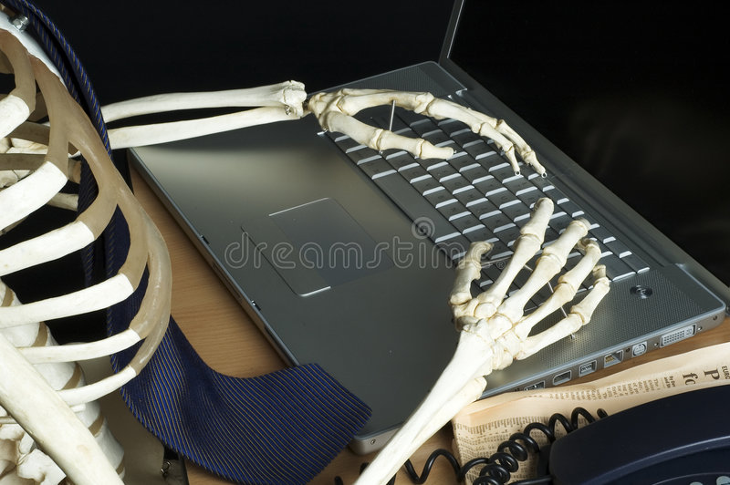 Skelet Op Het Werk 1 Stock Foto's