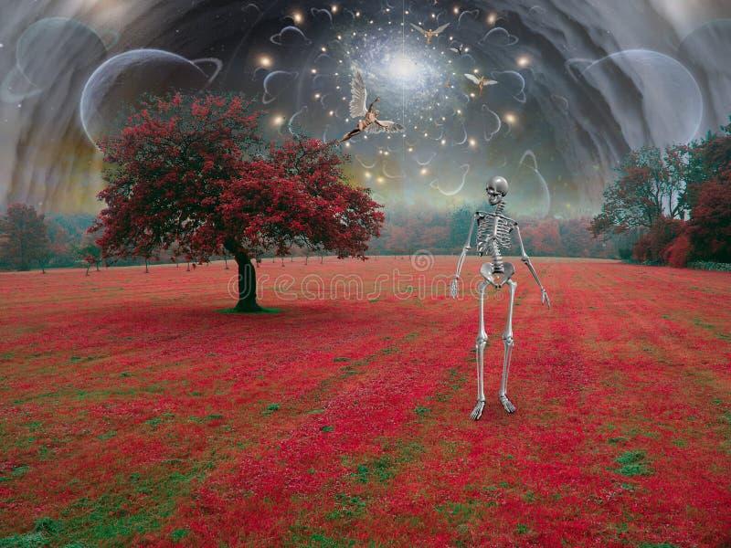 Skelet in surreal landschap royalty-vrije illustratie