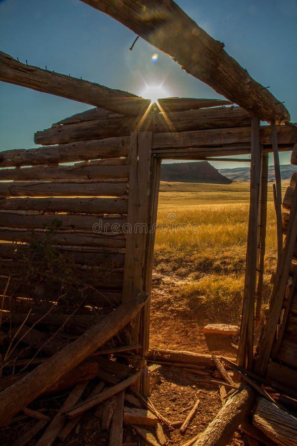 Skelet van de oude Hoeve van Wyoming royalty-vrije stock foto