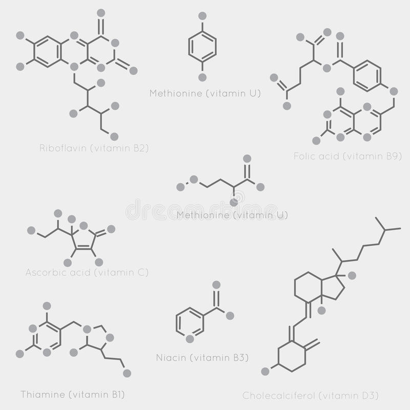 Skeletal formulas of vitamins. Skeletal formulas of some vitamins. Schematic image of chemical organic molecules, nutrients vector illustration