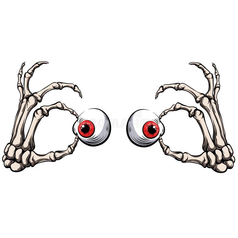 Skeletal hands hold eyeballs. Fearfully stock illustration