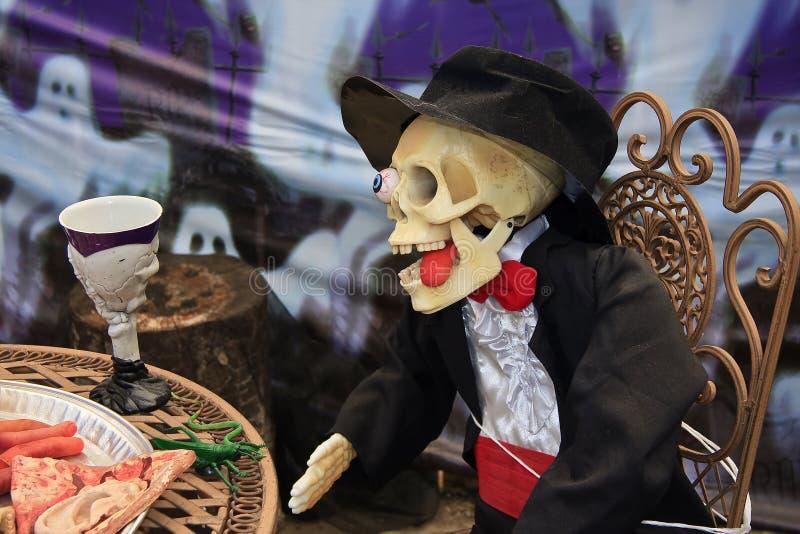 Skeletbruidegom voor Halloween stock foto's