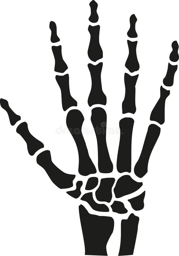 Skelethand met beenderen vector illustratie