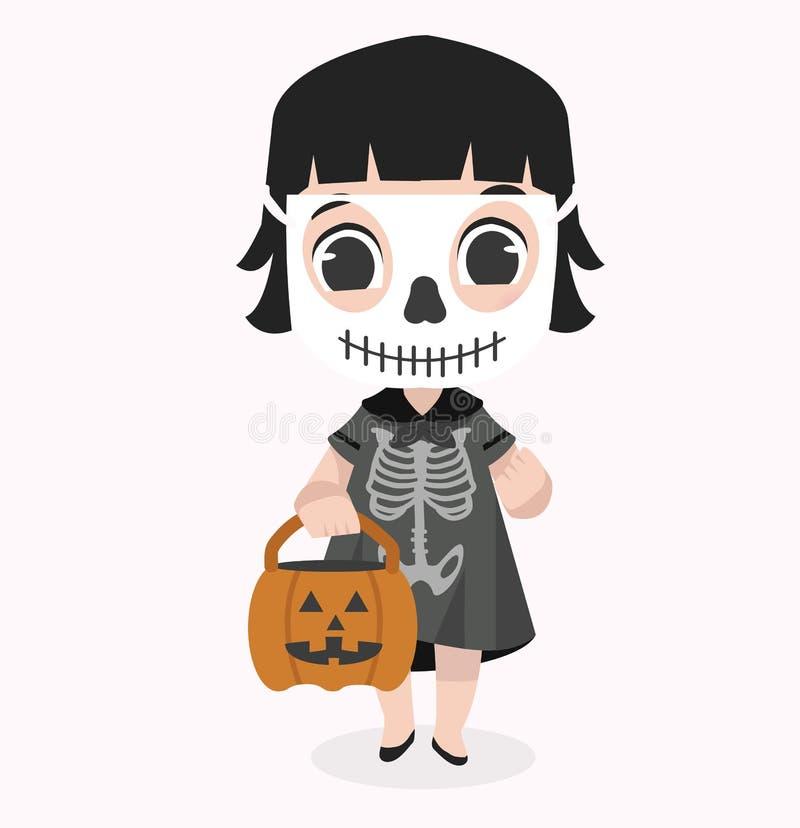 Skeletom de port d'enfant de caractère mignon de Halloween illustration stock
