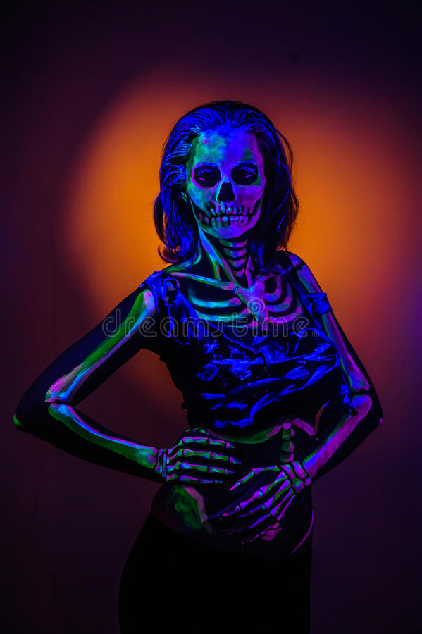 Skeleton bodyart mit blacklight lizenzfreies stockfoto