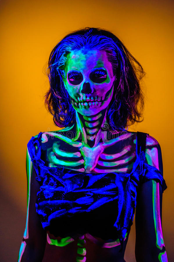 Free Skeleton Bodyart With Blacklight Stock Image - 54851261