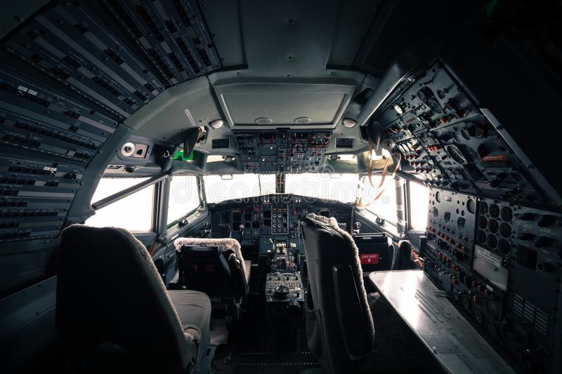 Skeleton of a Boeing 727 airplane cockpit stock photo