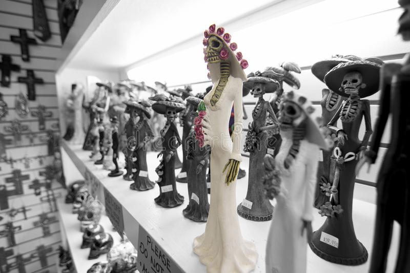 A skeleton bride in white statue in a gift shop royalty free stock images