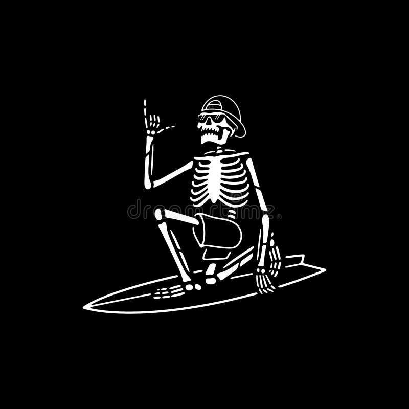 SKELETON SURFER WITH SHAKA HAND WHITE BLACK vector illustration