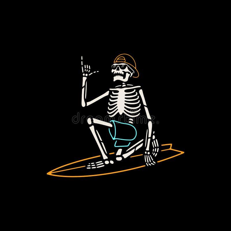 SKELETON SURFER WITH SHAKA HAND COLOR BLACK stock illustration