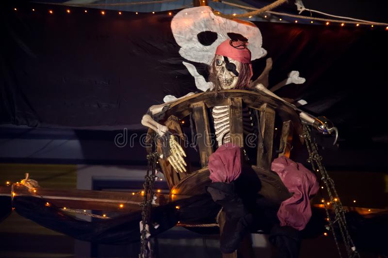 Skeleton captain pirate boat halloween outdoor royalty free stock photography