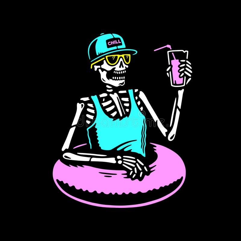 SKELETON CHILLING WITH COCKTAIL AND SWIM RING MULTICOLOR. SKELETON IN SUNGLWSSES CHILLING WITH COCKTAIL AND SWIM RING MULTICOLOR BLACK BACKGROUND stock illustration